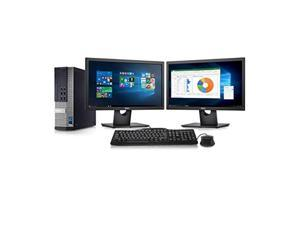 Dell Optiplex 9010 Desktop Computer- Intel Core i7 3.4GHz, 16GB DDR3, New 2TB HDD, Windows 10 Pro 64-Bit, WiFi, DVDRW + 2 New Dell Full HD 22 inch LED Monitor (Renewed)