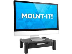 MOUNT-IT! Adjustable Height Desktop Printer Stand, Computer Monitor Riser and Desk Stand with Sliding Storage Drawer Organizer and Cable Management (Black)