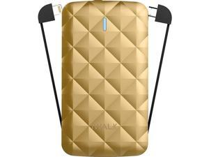 iWalk Duo UBO3000 3000mAh Rechargeable Backup Battery with Built in Lightning and Micro USB Charging Cables, Gold