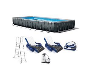 [Out of stock]Intex 32ft x 16ft x 52in Ultra XTR Rectangular Pool, Saltwater System, & Floats