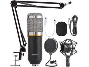 Toleap BM800 Condenser Microphone Bundle,With Adjustable Mic Suspension Scissor Arm, Shock Mount and Double-Layer Pop Filter,For PC Studio Recording & Brocasting Skype YouTuber Karaoke