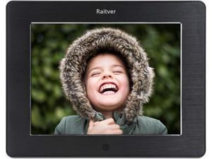 Raitver 8-Inch Digital Photo Frame with High Resolution LCD, MP3 Music and 1080P HD Video Playback, Auto On/Off Timer