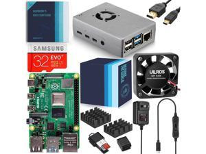 Vilros Raspberry Pi 4 Complete Starter Kit with Fan-Cooled Silver Heavy-Duty Aluminum Alloy Case (4GB RAM)