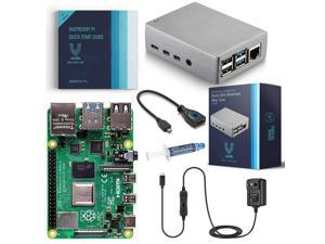 Vilros Raspberry Pi 4 Basic Starter Kit with Silver Heavy Duty Self Cooling Aluminum Alloy Case (8GB RAM)