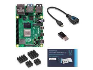 Vilros Raspberry Pi 4 Model B 8 GB with HDMI Female to Micro HDMI Male Adapter-USB-USB-C Adapter-Heatsink