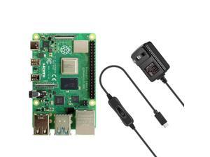 Raspberry Pi 4 Model B 8GB With Vilros USB-C Power Supply With Switch [3 Amp]