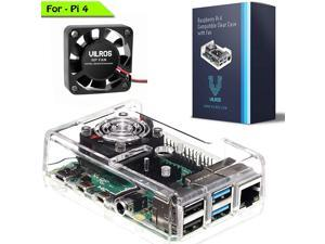 Vilros Raspberry Pi 4 Compatible Clear Transparent Case with Built in Fan