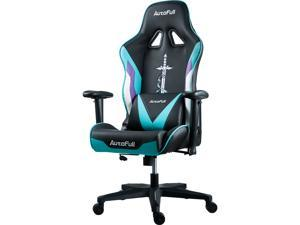 AutoFull Gaming Chair Racing Office Ergonomic High-Back Computer Chair PU Leather Desk Chair with Headrest and Lumbar Support E-Sports Swivel Chair, Cyan
