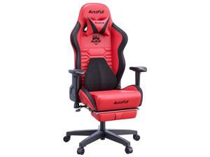 AutoFull Gaming Chair Office Chair Desk Chair with Ergonomic Lumbar Support, Racing Style PU Leather PC High Back Adjustable Swivel Task Chair with Footrest,Red.