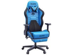 AutoFull Gaming Chair Office Chair Desk Chair with Ergonomic Lumbar Support, Racing Style PU Leather PC High Back Adjustable Swivel Task Chair with Footrest,Blue.