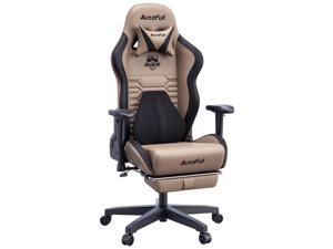 AutoFull Gaming Chair Office Chair Desk Chair with Ergonomic Lumbar Support, Racing Style PU Leather PC High Back Adjustable Swivel Task Chair with Footrest,Brown.