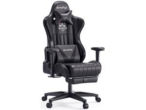 AutoFull Gaming Chair Desk Chair Office Chair Ergonomic High Back Computer Chair with Height Adjustment, Footrest,Headrest and Lumbar Support E-Sports Swivel Chair,black