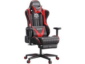 AutoFull Gaming Chair Desk Chair Office Chair Racing Style Ergonomic High Back Computer Chair with Height Adjustment, Footrest,Headrest and Lumbar Support E-Sports Swivel Chair,red