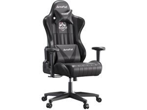 AutoFull Gaming Chair Desk Chair Office Chair Racing Style Ergonomic High Back Computer Chair with Height Adjustment, Headrest and Lumbar Support E-Sports Swivel Chair, Black