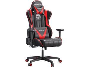 AutoFull Gaming Chair Desk Chair Office Chair Racing Style Ergonomic High Back Computer Chair with Height Adjustment, Headrest and Lumbar Support E-Sports Swivel Chair, Red