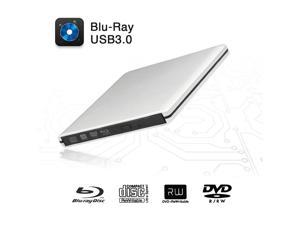 USB 3.0 External Blu-ray DVD Drive, Ultra Slim 11mm External Blu-Ray DVD/CD Burner 3D Blu-Ray DVD Writer Portable Blu Ray Optical Drive Support for Laptop, Desktops, MacBook(Silver)