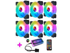 6 Pack RGB Case Fans,COOLMOON 120mm Silent Computer Cooling PC Case Fan Addressable RGB Color Changing LED Fan with Remote Control,Music Rhythm Sync & 5V ARGB Motherboard Sync