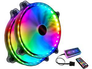 COOLMOON RGB Cooling Fan, 200mm CPU RGB Fans for Computer Case Adjustable Color LED PC Computer Fan with Remote Controller, Colorful Computer Case Cooling Cooler (2 Fans+ Remote)