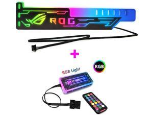 COOLMOON LED Acrylic Graphics Card Bracket use for Brace GPU RGB Sync Light use Fix Video DIY Computer Game Chassis 4-Pin 5V (Graphics Card Bracket + Controller Set)