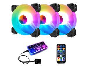 3 Pack RGB Case Fans,COOLMOON 120mm Silent Computer Cooling PC Case Fan Addressable RGB Color Changing LED Fan with Remote Control,Music Rhythm Sync & 5V ARGB Motherboard Sync