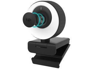 1080P 60FPS Webcam with Microphone, 2021 COSHIP Computer Camera with Ring Light, Privacy Cover, Advanced Auto-Focus, Adjustable Brightness, Streaming Web Camera for Zoom Skype Facetime
