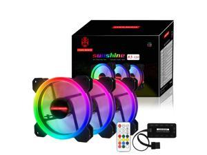 Kit RGB LED PWM Case Fans 120mm with Remote Controller Fan Hub and Extension, COOLMOON Quiet Edition High Airflow Adjustable Colorful PC Case CPU Computer Cooling with Coolers, Radiators System (3pcs)
