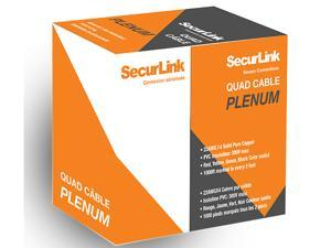 Securlink Alarm Quad Cable 4 Wire 22AWG 1000FT CMP FT6 White Color