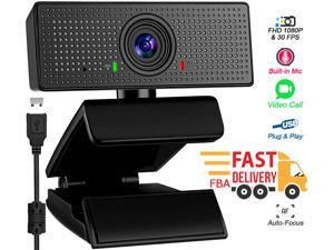 1080P Webcam, Dual Built-in Microphones, Full HD Webcam for Computers PC Laptop Desktop, USB Plug and Play, Conference Calling, Study Video Teaching,Work from Home Webcam Skype,Zoom