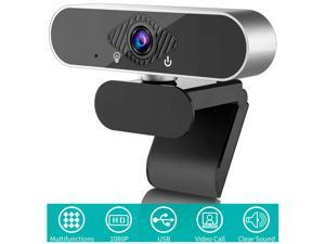 Webcam with Microphone, 1080P HD Webcam (30fps) Computer for Plug & Play USB Web Camera, HDR Technology for Video Calling, Conferencing, Recording, and 120-Degree Live Streaming