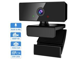 Webcam with Microphone, 1080P HD PC Webcam Laptop Mac Desktop Plug and Play USB Webcam, 110-Degree View Angle Computer Web Camera for Video Calling Recording Conferencing