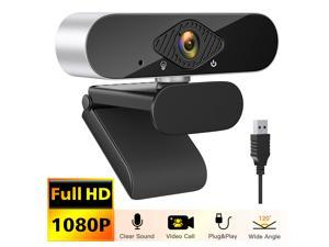 Webcam with Microphone,HD 1080P USB Streaming Web Cam for Desktop Laptop PC Computer Web Camera with 120-Degree Wide View Angle for Home Office,Video Calling,Conferencing,Online Teaching or Gaming