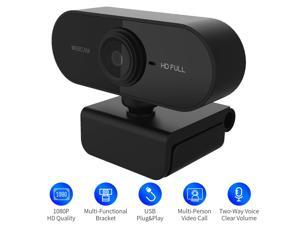 PC Webcam 1080P Full HD Webcam USB Desktop & Laptop Webcam Live Streaming Webcam with Microphone Widescreen HD Video Webcam 90-Degree Extended View for Video Calling (HD Webcam) Black