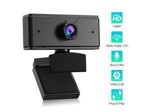 1080P Full HD Webcam, USB Web Camera with Built-in Microphone for Laptop, Computer, PC, Video Calling and Recording, Black