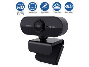 1080P Webcam with Microphone USB Web Camera Streaming Web Cam for Video Calling (Black)