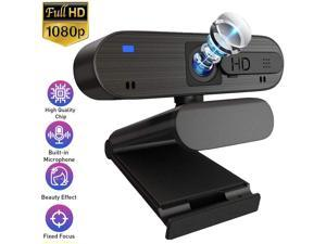 HD Pro Webcam 1080P with Dual Microphone & Privacy Cover Slide, Autofocus Widescreen USB Computer Camera for PC Desktop&Laptop, 4K Streaming Web Camera for Video Calling Recording Conferencing Gaming