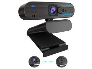 HD Webcam with Microphone for PC 1080p Cover Slider USB Web Camera with Clip on Web Cam Gaming Camera Streaming Webcam for Laptop Computer