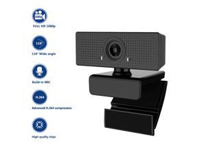 Webcam with Microphone, 1080P HD Computer Camera with 110-Degree Wide View Angle Live Streaming USB Camera for Desktop Laptop Video Calling, Conferencing, Gaming