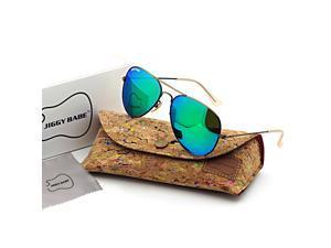 Top Original Brand Name Designer 3025 Aviator Sunglasses Retro Large Metal Flash Iridium Color Glass Mirror UV400 Men Women High Quality Fashion Sun Glasses Eyewear Classic Vintage 58mm Green