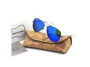 Top Original Brand Name Designer 3025 Aviator Sunglasses Retro Large Metal Flash Iridium Color Glass Mirror UV400 Men Women High Quality Fashion Sun Glasses Eyewear Classic Vintage 58mm Deep Blue