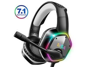 EKSA E1000 Gaming Headset 7.1 Virtual Surround Gaming Headphones Wired USB Earphone With LED RGB Light Mic For Computer/PC/PS4 Gray/Green