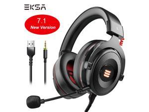 EKSA E900 Pro Gaming Headset Xbox One Headset with 7.1 Surround Sound, PS4 Headset Noise Cancelling Over Ear Headphones with Mic&LED Light Compatible with PC, PS4, Xbox One Controller, Nintendo Switch