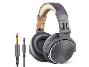 OneOdio Adapter-Free Closed Back Over-Ear DJ Stereo Monitor Headphones, Professional Studio Monitor & Mixing, Telescopic Arms with Scale, Newest 50mm Neodymium Drivers- Glossy Finsh (Grey)