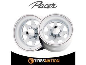 (2) Pacer 603310W WHITE SPOKE 16X7 8X6.50 130.81 Hub +00 Offset White Wheel Rim