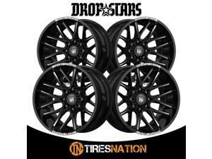 (4) Dropstars DEEP CONCAVE 20X10 5X4.50/5X5.00 78.00 Hub -25 Black Wheel Rim