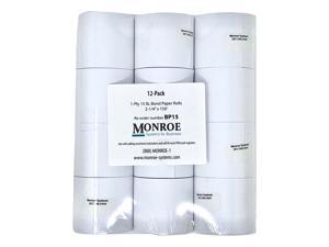 "Monroe Systems for Business 15 Pound Bond Paper Rolls, Single Ply, High-Quality, 2 1/4"" x150' for Cash Registers, Printing Calculators, Adding Machines and more! (12-Pack)"
