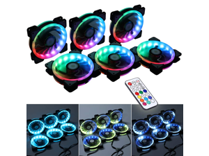 6 Pack Zgeer Wireless Control RGB LED 120mm Case Fan with Remote Controller for PC Cases, CPU Coolers, Radiators System
