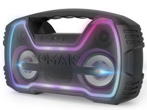 AOMAIS GO Mini Bluetooth Speaker, Portable Flashing Light Wireless Stereo Pairing Speaker, 20W Superior Sound, IPX7 Waterproof, 12 Hours Playtime, 100ft Bluetooth Range for Home Party, Outdoors