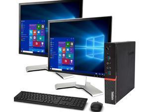 "Lenovo M900 Tiny Computer Micro Tower PC, Intel Core i5 6400T Processor, 16GB DDR4 Ram, 512GB M.2 SSD, BTO Wireless Keyboard & Mouse, Wifi | Bluetooth, New Dual 19"" FHD Monitor, Win 10 Pro (Renewed)"