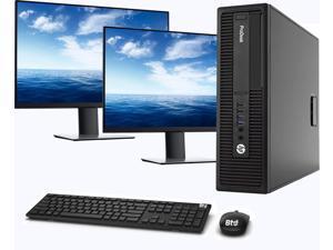 "HP 600 G2 SFF Computer Desktop PC, Intel Core i5-6500 3.2GHz Processor, 16GB Ram, 512GB M.2 SSD, BTO Wireless Keyboard & Mouse, Wifi | Bluetooth, HP Dual 23.8"" LCD Monitor, Windows 10 Pro (Renewed)"
