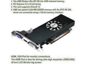 BTO High Profile AMD Radeon RX550 Phoenix Fan Edition (DVI-D, HDMI & VGA) PCI-E Video Graphics Card GPU (Triple Monitor Support) Compatible with Dell, HP & Lenovo Desktops, SFF & Towers Only